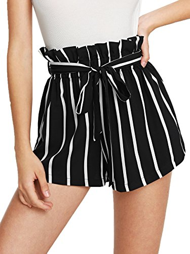 SweatyRocks Women's Casual Elastic Waist Striped Summer Beach Shorts with Pockets Black XS