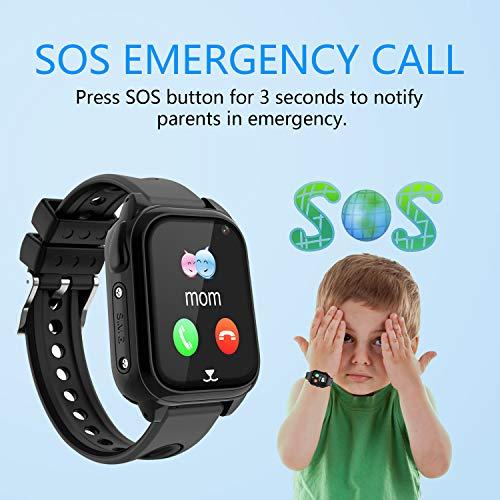 Wasserdichtes GPS Smartwatch für Kinder, Intelligentes Uhrentelefon Kind Geschenk Zwei Wege Gespräch mit GPS Locator Voice-Chat Kamera SOS Mathe-Spiel Wecker Uhr Junge Mädchen