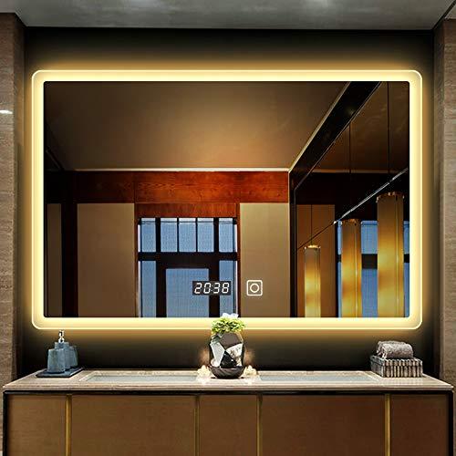 YORKING 50x70cm LED Badezimmerspiegel Badezimmerspiegel mit LED-Beleuchtung Touch Wandspiegel Badezimmerspiegel Beleuchtungsspiegel Badezimmerspiegel
