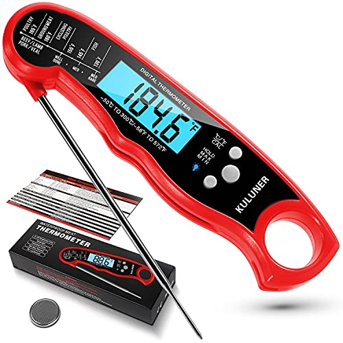 """KULUNER TP-01 Waterproof Digital Instant Read Meat Thermometer with 4.6"""" Folding Probe Backlight & Calibration Function for Cooking Food Candy, BBQ Grill, Liquids,Beef(Red)"""