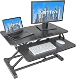 METIYA Standing Desk Converter 32 inch Stand Up Desk Height Adjustable Sit Stand Dual Monitor and Laptop Riser Workstation Black