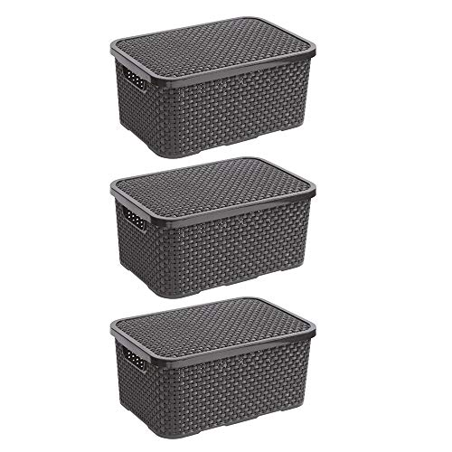 BranQ - Home essential Deckel Korb in Rattan Design 3er Set Grösse M 10l, Kunststoff PP, Anthrazit, 10 l, 3
