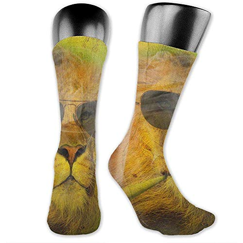 NGMADOIAN Coole Rasta Lion Judah met zonnebril, roken boven de kuitsokken, sportieve sokken voor mannen vrouwen sport lange sokken kousen 40 cm