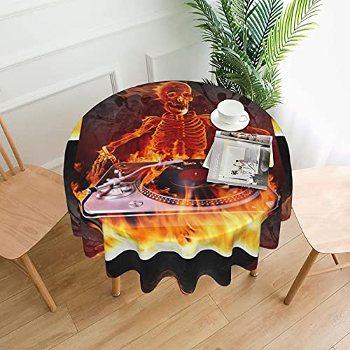 Fire Burning DJ Skull Music Carnaval Mantel redondo a prueba de derrames al agua para exterior interior cubierta de mesa de 60 pulgadas