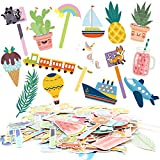 Youngever 139 Pieces Bookmarks, Kids Bookmarks with 8 Themes, Car Boat Plane Train Unicorn Cactus Animal Alphabet Cold Drinks Ice Cream Dessert Fruit