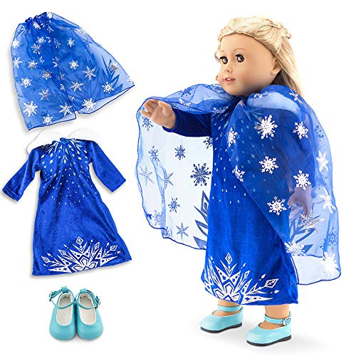 """Oct17 Fits Compatible with American Girl 18"""" Princess Dress 18 Inch Doll Clothes Outfit Set Costume (Gold)"""