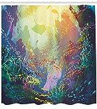 Cortina de ducha de animales marinos, bajo el agua con arrecife de coral y colorido pescado acuario impresión artística, tela de tela para decoración de baño