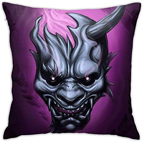 smartgood Japanese Devil Oni with Kanji Design Logo Pillowcase Floor Pillowcase Sofa Cushion Cushion Cover Backrest Over Seat Cushion InteriorSize 45X45 cm