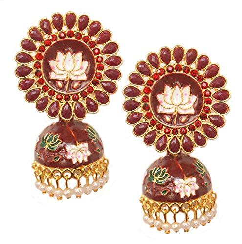 Pahal Traditional Dark Red Kundan Meenakari Enamel Painted Big Gold Jhumka Earrings Indian Bollywood Polki Jewelry for Women