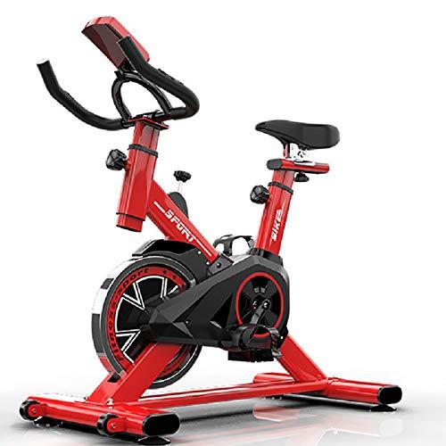 Bicicleta EstáTica EstáTica, Bicicleta EstáTica Spinning Con Disco Inercia 8Kg De Frecuencia CardíAca, Pantalla Lcd, Sensores De Pulso Muy Silenciosos, Bicicleta De Spinning, 85*45*110cm rojo