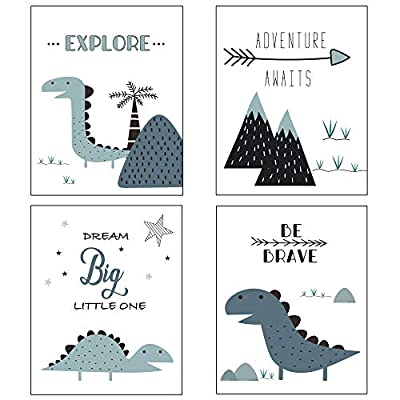 Nursery Decor and Baby Room Decor for Baby Nursery - Dinosaur and Mountain Themed Woodland Nursery Decor - Baby Boy Nursery Wall Decor - 4 Posters - Blue White - Unframed