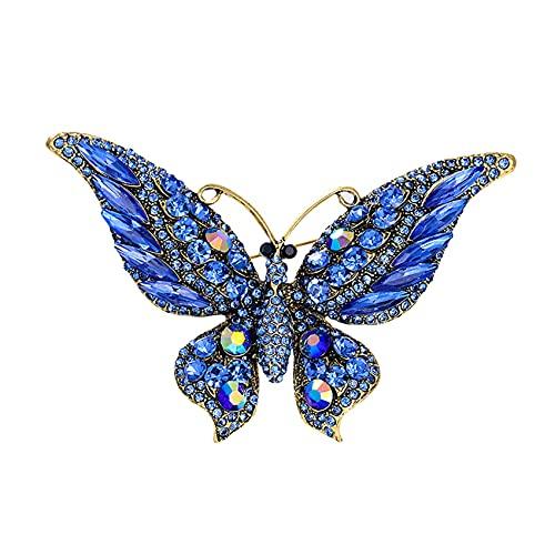 ZSDFW Broche de joyería vintage con diamantes de imitación de mariposa para mujer, adornos de joyería, broches, diadema decorada para mujeres y niñas, color azul