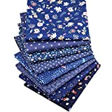 Yuelso 8pcs / Lot Azul Oscuro Serie Impreso Floral de Sarga de algodón Remiendo de la Tela del paño for el Bricolaje de Costura Que acolcha los niños del bebé de Materiales
