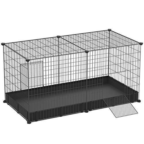 SONGMICS Small Animal Cage, Large Indoor Playpen and Enclosure with Oxford Mat and 2 Doors, Metal Grid Crate for Guinea Pig, and Cat, 48.4 x 24.8 x 24 Inches, Black ULPI05H