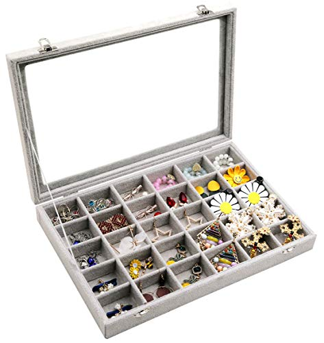 Wudygirl Clear Lid 30 Grid Jewelry Organizer Box Storage Case Showcase Display Jewelry Tray Stackable Removable Ice Velvet(30 Grid)