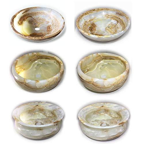Aufsatz Waschbecken aus Onyx Naturstein I edel – elegant – unikat I Aufsatzwaschbecken Steinwaschbecken Waschschale I ca. 9 kg I Durchmesser ca. 39 cm I Höhe ca. 12 cm (Variante 2)