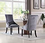 Iconic Home Machla Dining Side Chair Diamond Button Tufted Velvet Upholstered Silver Tone Nailhead Trim Espresso Finished Wooden Legs Modern Transitional (Set of 2), Grey