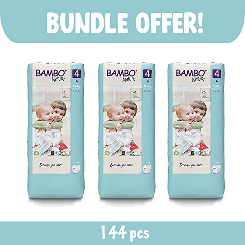Bambo Nature Size 4 Premium Eco Nappies (15-31 lb/7-14 kg) 3 x Tall Pack of 48 (Case Saver)