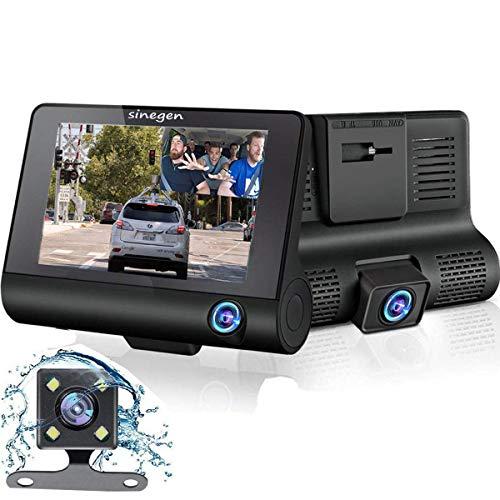 Sinegen Dash Camera 1080P 4' LCD Screen 3 Lens Car DVR Dashboard Camera 170° Wide Angle, Night Vision, WDR, G-Sensor, Loop Recording and Motion Detection - No SD Card