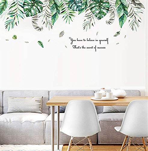 ZHIRCEKE Wall Sticker for Bedroom, Tropical Jungle Wall Sticker as Wall Decoration for Living Room Children's Room 53 cm x 150 cm Decorative Wall Sticker