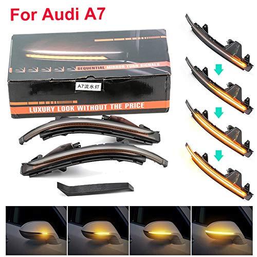 HDX Espejo retrovisor dinámico indicador de luz LED intermitente para Audi A4 S4 A5 S5 A6 S6 A7 S7 A8 S8 Q5 Q7 SLine (A7 S7 RS7 4G8 2010-2017 LBD9999)
