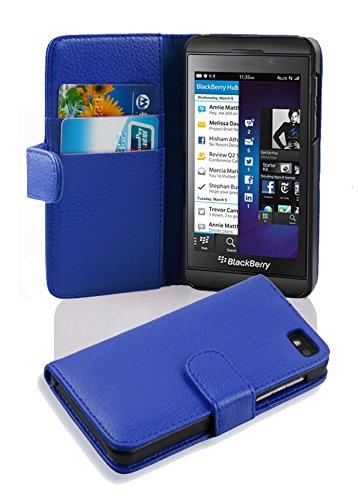 Cadorabo Hülle für BlackBerry Z10 in KÖNIGS BLAU – Handyhülle aus Strukturiertem Kunstleder mit Standfunktion & Kartenfach – Hülle Cover Schutzhülle Etui Tasche Book Klapp Style