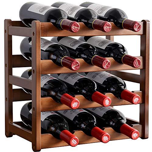 Sowoic Bamboo Wine Rack Freestanding Floor 4 Layer Wine Holder for 12 Bottles Modern Wine Rack Shelf for Living Room Kitchen Cellar Pantry
