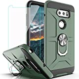 YmhxcY Case Compatible with LG V35 ThinQ/V30/V30 Plus/ V30S ThinQ/ V35 Case with HD Screen Protector,360 Degree Rotating Ring Kickstand Holder Dual Layers of Shockproof Case for V30-ZS Dark Green