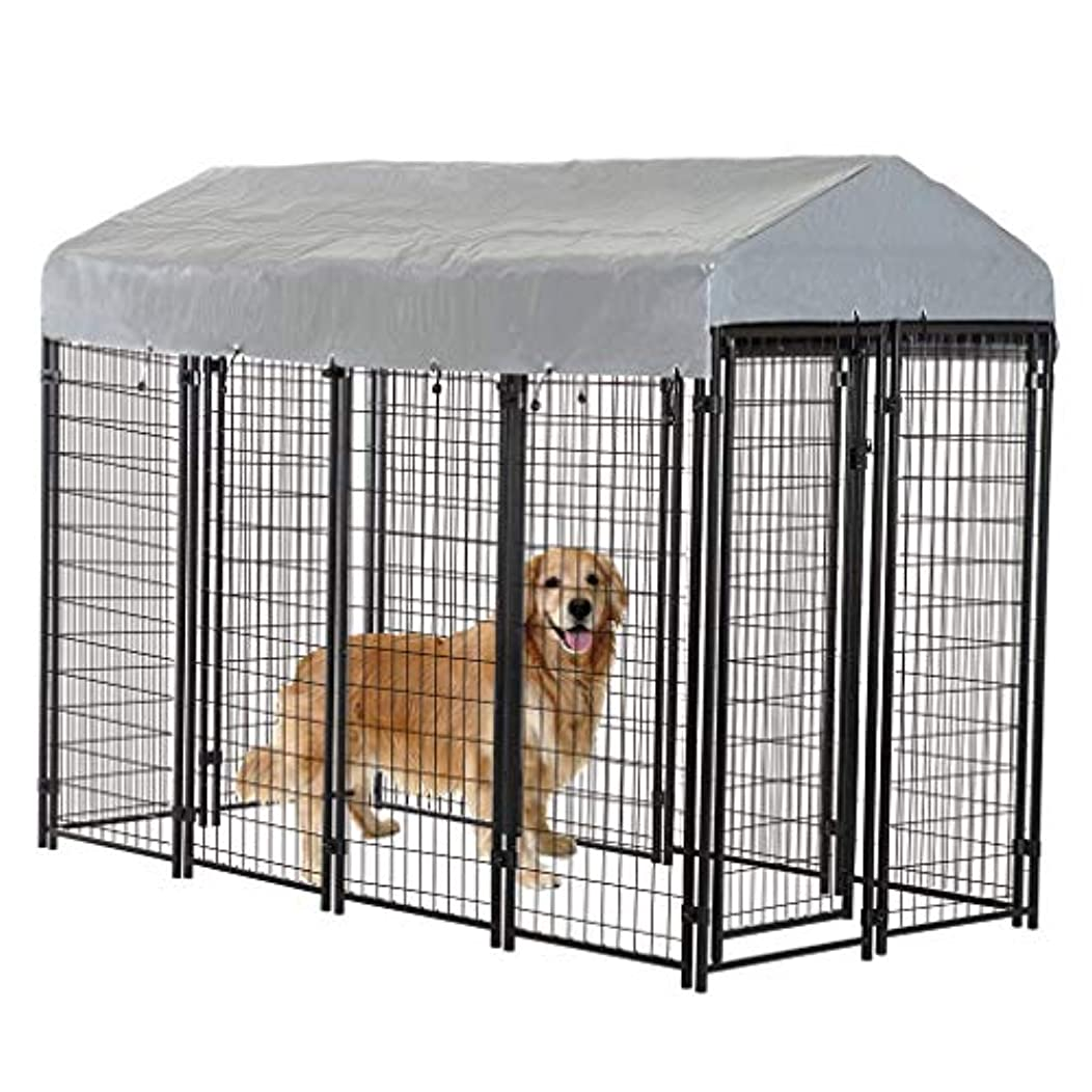 Welded Wire Dog Kennel Heavy Duty Playpen Included a Roof and Water-Resistant Cover 4 * 4 * 4.3/7.5 * 3.75 * 5.8 Feet