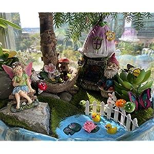 garden fairy garden decor accessories miniature flower gnome garden kit gnome figurines statue set indoor outdoor garden decoration gardening gifts for girl boy mother girlfriend birthday