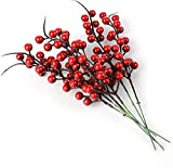 Baya roja artificial, 40 unidades de tallos de bayas de acebo de Navidad artificiales ramas de frutas ramas de flores bricolaje arreglo de flores manualidades decoración