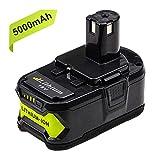 Powayup 18V 5,0Ah RB18L50 Li-ion Batterie de Remplacement pour Ryobi ONE+ P108 P105...