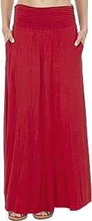Women's High Waist Shirring Flared Maxi Skirt with Pockets