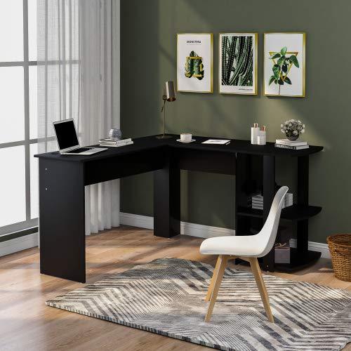 Jamiwe Escritorio de esquina en forma de L de MDF con 2 estantes, para oficina en casa, escritorio ampliado, 140 x 50 x 75 y 140 x 40 x 75 cm (negro)