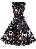 ihot - Vestito da donna vintage anni '50, stile Rockabilly, motivo floreale con stampa, per cocktail, serate, swing, feste A23-nero Teschio S