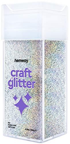 Hemway Shaker de purpurina holográfica plateada ultra fina/extrafina para manualidades, vasos, escuelas,...