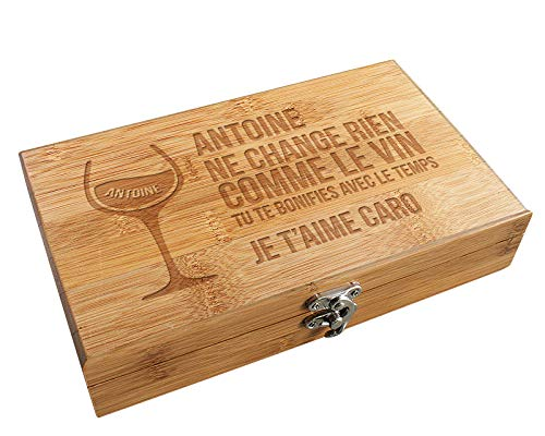 CADEAUX.COM Coffret Sommelier Accessoires Vin Citation - Coffret Cadeau vin Personnalisable et Ses Accessoires