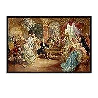 Mmpcpdd ヨーロッパのフィギュアキャンバス絵画古典的な貴族のポスターと家のリビングルームの装飾のための壁の芸術の写真を印刷-50X75Cmx1フレームなし