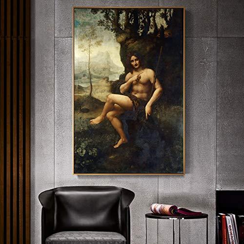 Leonardo da Vinci Famoso arte pintura de lienzo reproducción en el retrato de la pared de las imágenes de arte de la pared de Bacchus, para la decoración de la sala de estar sin marco