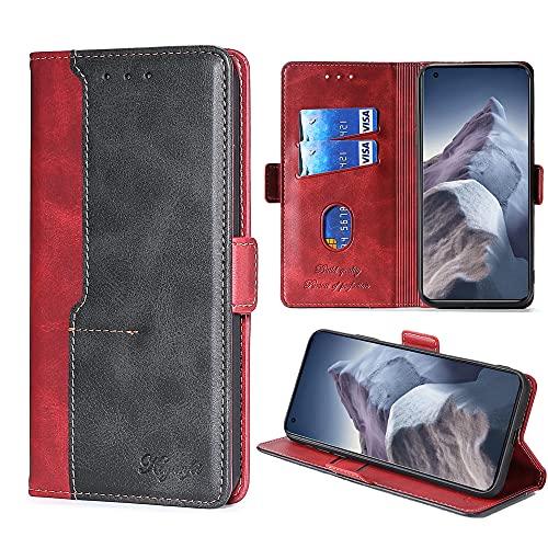 FiiMoo Funda Compatible con Xiaomi Mi 11 Ultra 5G, Carcasa de Cuero PU Premium [Ranura para Tarjetas] [Cierre Magnético] [Función de Soporte] Cover Protectora para Xiaomi Mi 11 Ultra 5G -Rojo
