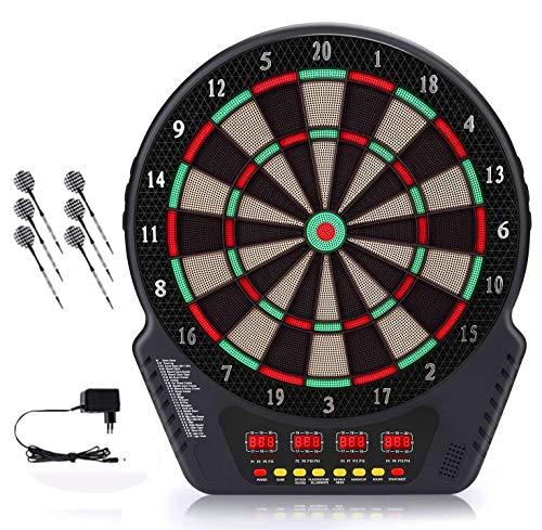MOCOLI Elektronische Dartscheibe, Aktualisierte Version Dartscheibe Elektronisch mit Netzteil, 4 LCD-Anzeige Scoring Indicator, mit 6pcs Dartscheibe Kork, 24pcs Dart Tipps, Dartautomat, Dartboard