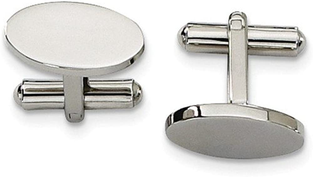 Black Bow Jewelry Men's Stainless Steel Polished Oval Cuff Links, 8 x 18mm