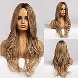 HAIRCUBE pelucas largas y rizadas marrones pelucas sintéticas onduladas naturales con parte media para mujeres pelucas...