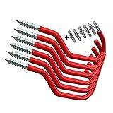 TEBX 2/6 piezas soporte de pared para bicicleta Heavy Duty Bicicletas ganchos de almacenamiento de bicicletas bicicletas Soportes de suspensión Ciclismo piezas de bicicleta (6pcs rojo)