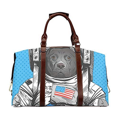 Mädchen Handtaschen Staffordshire Bull Terrier Hund Astronaut Anzug Klassische Übergroße wasserdichte Pu Leder Casual Weekend Bag Mädchen Weekend Duffle Bag