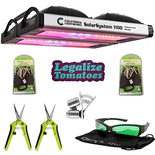 California Lightworks Solar System 1100 Premium Package - Commercial LED Lighting Grow Light Fixture   Accessories Included -LED Glasses, Grow Crew Ratchet Hangers, Legalize Tomatoes Sticker
