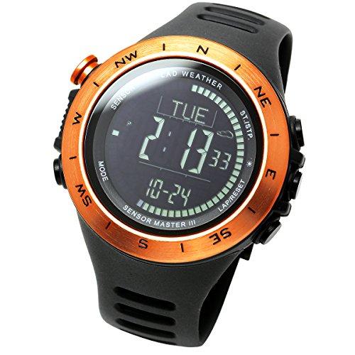 LAD WEATHER Reloj Altímetro Barómetro Brújula Calorías Pronóstico del Tiempo Marca de América y Japón Senderismo Correr Camping (Orange-)
