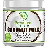 Coconut Milk Body Scrub 12 oz For Face & Body, 100% Natural By Premium...