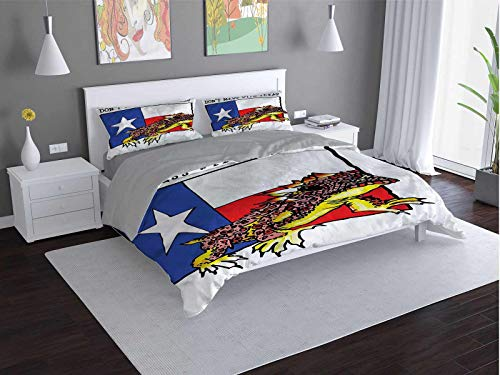 Toopeek Reptile 100% washed microfiber bed set American-Texas-City Super soft and breathable duvet cover (Queen)
