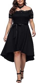 Women's V-Neck Stitching Lace Plus Size Dress XL-4XL